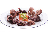 Plate of cooked baby octopus poster