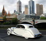 Melbourne downtown, Australia and white antic car poster