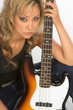 blonde Hispanic Girl posing with bass guitar....