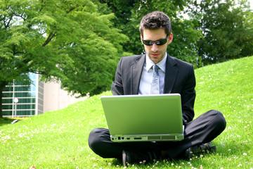 Geschäftsmann mit laptop auf Wiese