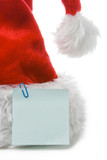santa claus red cap with sticker on white poster