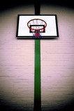 Basketball ring and backboard, cross processed. poster