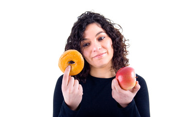 girl weighs her options - donut or an apple