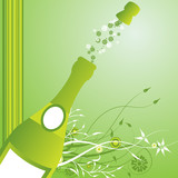 Holiday sparks of a champagne, vector poster