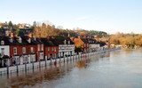 Floods at Bewdley with the defence barriers up poster