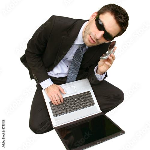 laptop handy man - isolated