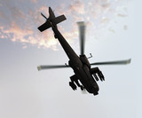 Photoreal 3D render of Apache helicopter poster