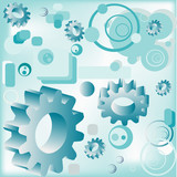 illustration with circles, gears and rectangles poster