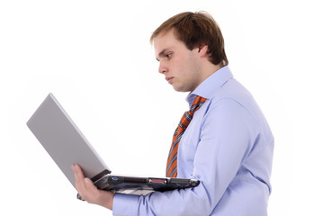 man working with computer in a white background