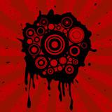 retro circles & ink splats on grunge background poster