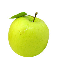 fresh apple fruit with green leaf isolated with clipping path
