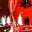 Christmas composition with couple silhouettes