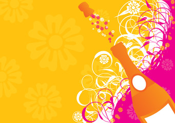 Holiday sparks of a champagne, vector