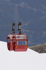 View of Ski Lift cable car from Aiguille Du Midi in Chamonix