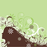 Floral abstract woman, vector