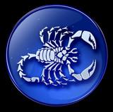 Scorpio zodiac button icon ( With Clipping Path ) poster