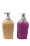 Bottles/containers of hand wash/handwash.Liquid soap.Hygiene poster