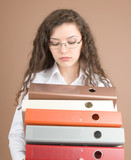 Businesswoman with files isolated on beige poster