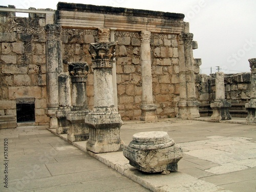 Interior/ruins/columns of the great synagogue of Capernaum