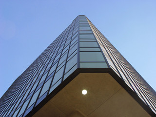 Looking up the corner crease of a beautiful building