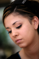 Close-up portrait of a sad teen girl