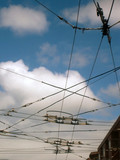 stock pictures of wires in the city for power distribution poster