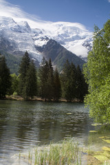 View of Mont Blanc mountain range reflected in lake