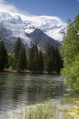 View of Mont Blanc mountain range reflected in lake