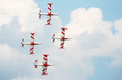 Sport planes and background sky. Airshow meeting