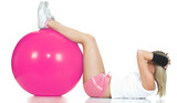 Pilates trainer doing stomach exercise. Pink Pilates ball poster