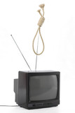 TV and hangman noose rope. TV mind domination concept poster