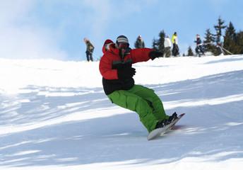 Snowboarder on snow ski slope. Winter sport lifestyle concept