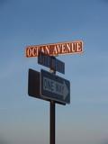 Street Signs near Beach in Ocean Grove, New Jersey poster