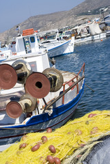 fishing boats in the greek islands cyclades