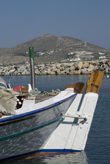 fishing boats in the greek islands cyclades aegean sea