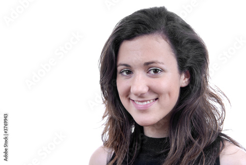 young business woman portrait in white background