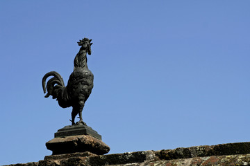 sculptured cock on blue sky