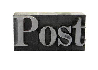 the word 'Post' in old, inkstained metal type