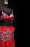 Mannequin modelling a red shiny belly dancing costume. poster
