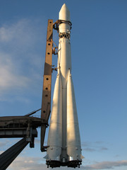 Space rocket in the evening