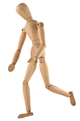 running wooden figure isolated on pure white background