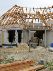 New European house being built in Holland.