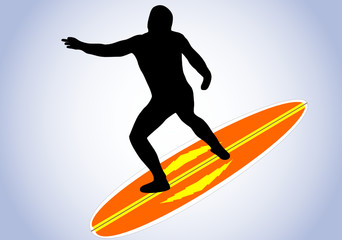 illustration of a surfer and surfboard