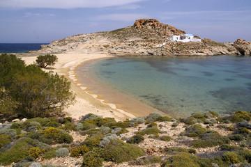 Lia Beach with church, Serifos, Cyclades