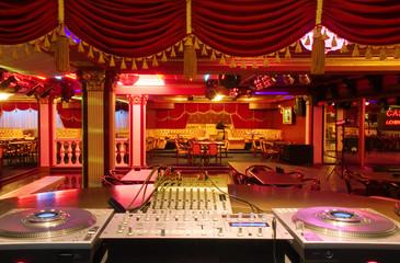 The Interior of night club. DJ place