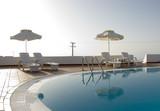 greek islands hotel swimming pool high key poster