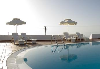 greek islands hotel swimming pool high key
