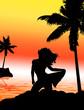 femme sexy sur la plage et palmier