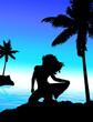 fille sexy sur la plage et palmier