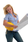 A pretty girl holding blueprints and a hardhat. poster